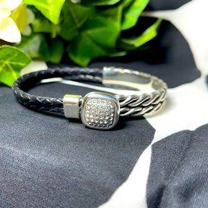 Brighton bracelet silver black leather pull on